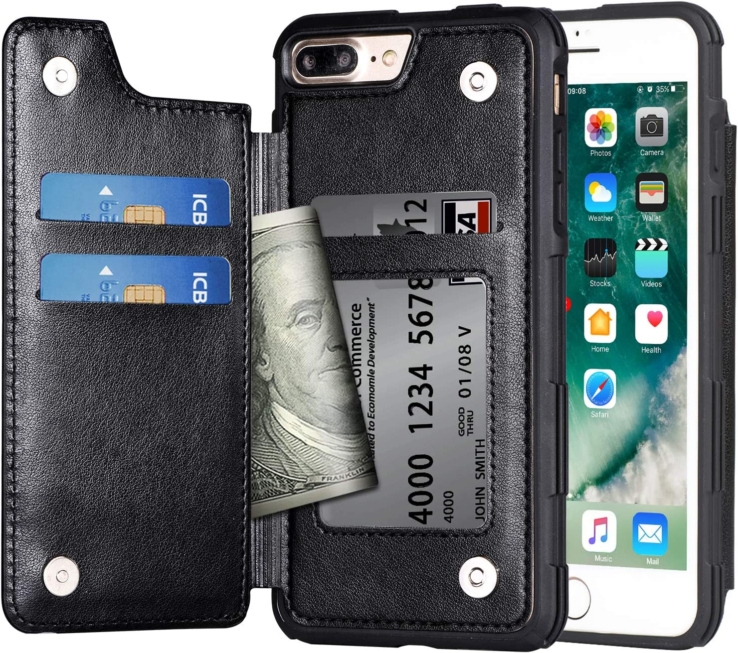Arae Case for iPhone 7 Plus/iPhone 8 Plus - Wallet Case with PU Leather Card Pockets [Shockproof] Back Flip Cover for iPhone 7 Plus / 8 Plus 5.5 inch (Black)