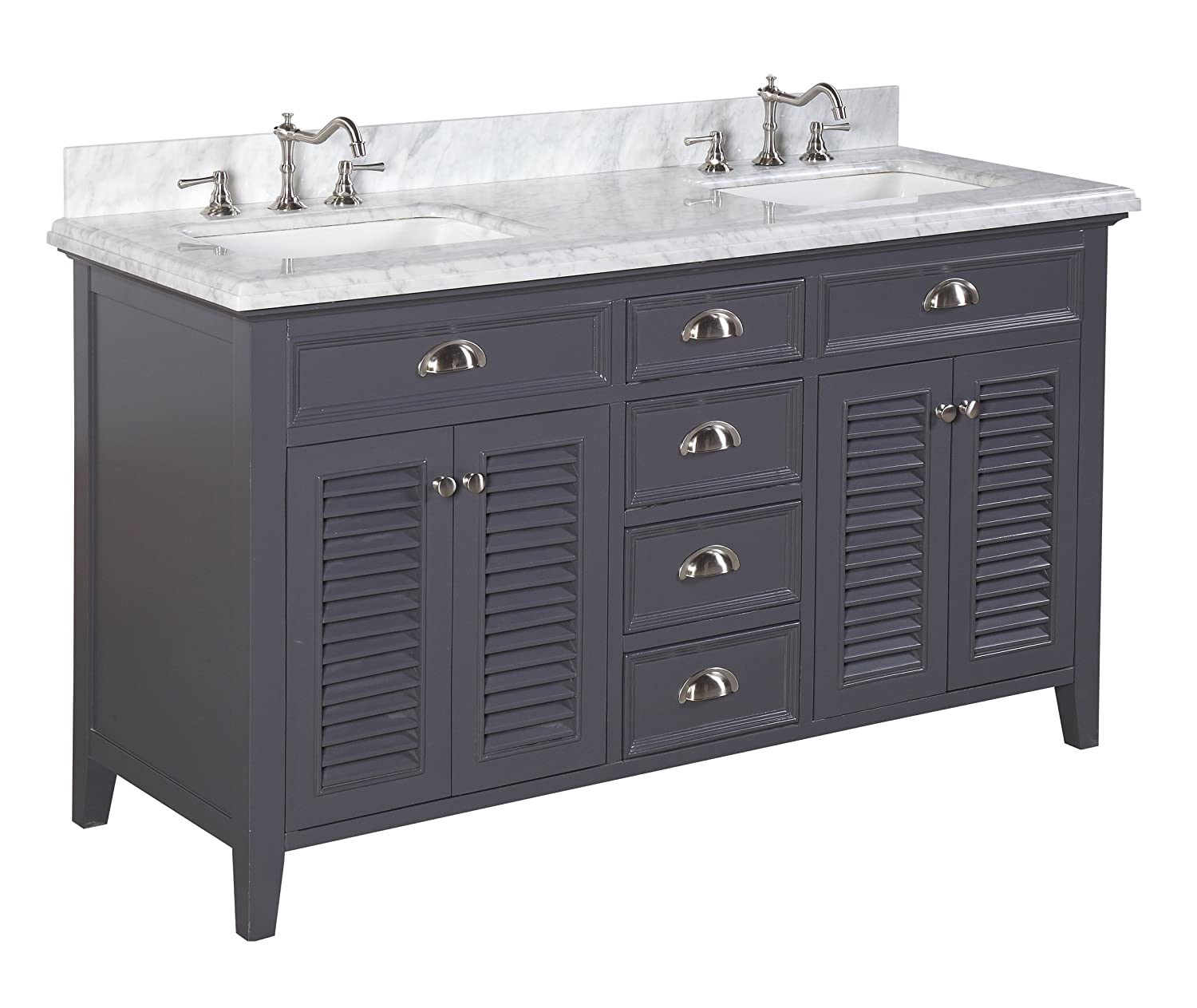 Kitchen bath collection kbc sh602gycarr savannah double sink bathroom vanity with marble for Double sink countertop bathroom