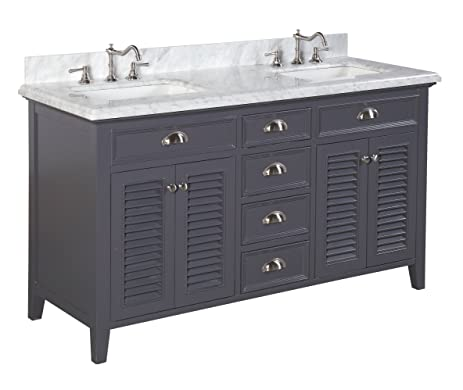 Kitchen Bath Collection KBC SH602GYCARR Savannah Double Sink Bathroom  Vanity With Marble Countertop, Cabinet