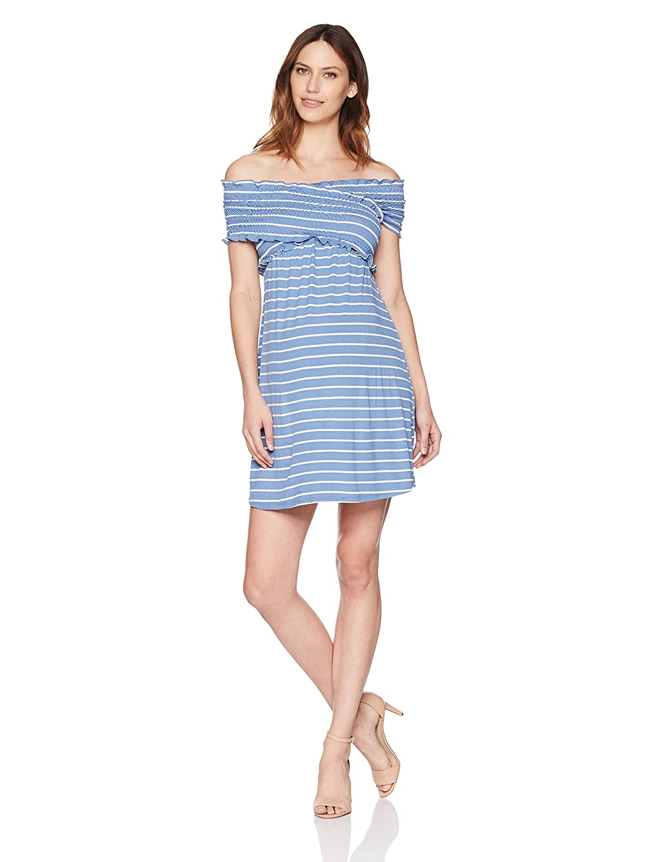 Maternal America DRESS レディース B078X2GSYM Large|Indigo Stripe Indigo Stripe Large