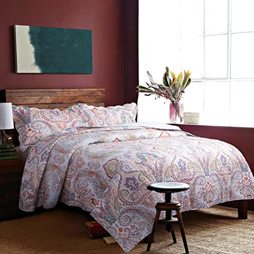 "Paisley Bedding Quilt Coverlet Set Twin(68""x86"") Crimson Blue Pattern 2 Piece (1 Quilt+1 Sham) Lightweight Hypoallergenic Microfiber Marrakesh"