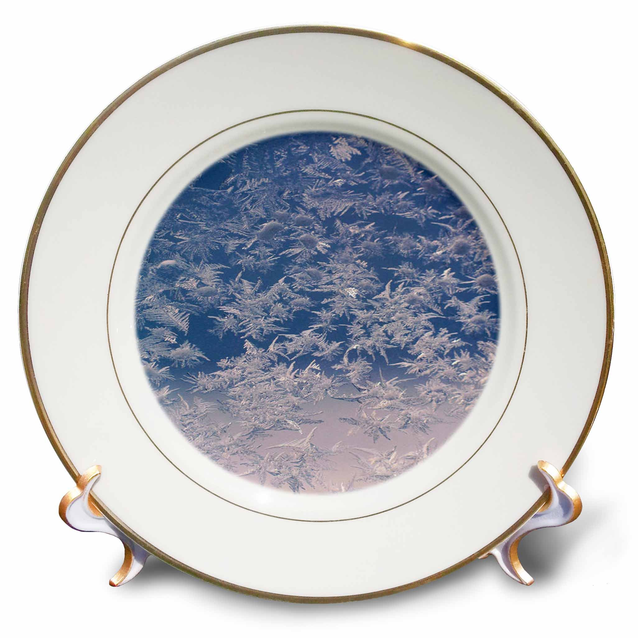 3dRose TDSwhite – Winter Seasonal Nature Photos - Window Snowflakes - 8 inch Porcelain Plate (cp_284946_1)