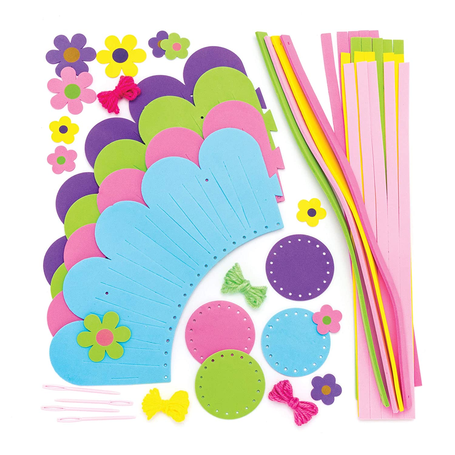 Baker Ross Flower Basket Weaving Kits Spring Themed Crafts for Kids to Assemble and Decorate Pack of 4