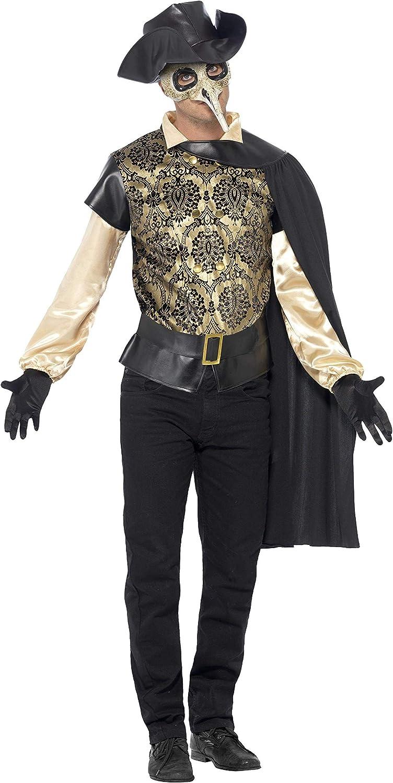 Smiffy's Smiffys-43742L Disfraz de médico de la época de la Peste, con Parte de Arriba, Capa, Guantes y y, Color Negro, L - Tamaño 42