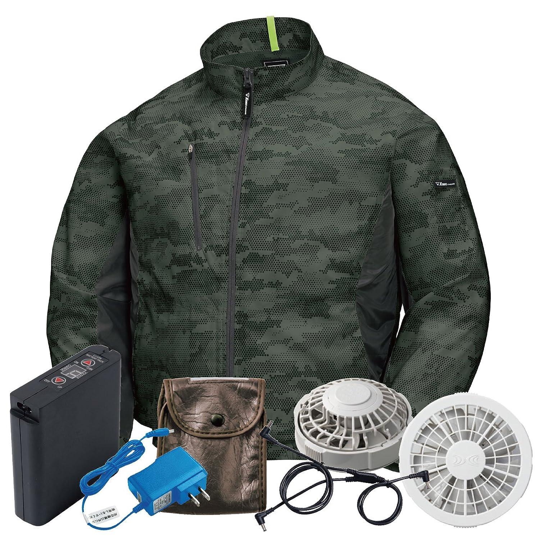 XEBEC(ジーベック) 空調服 迷彩長袖ブルゾン 空調服セット おしゃれ カジュアル メンズ 作業服 xb-xe98005-l 【空調服+ファンバッテリーセット】 B07D573F4R アーミーグリーン/グレーファン L