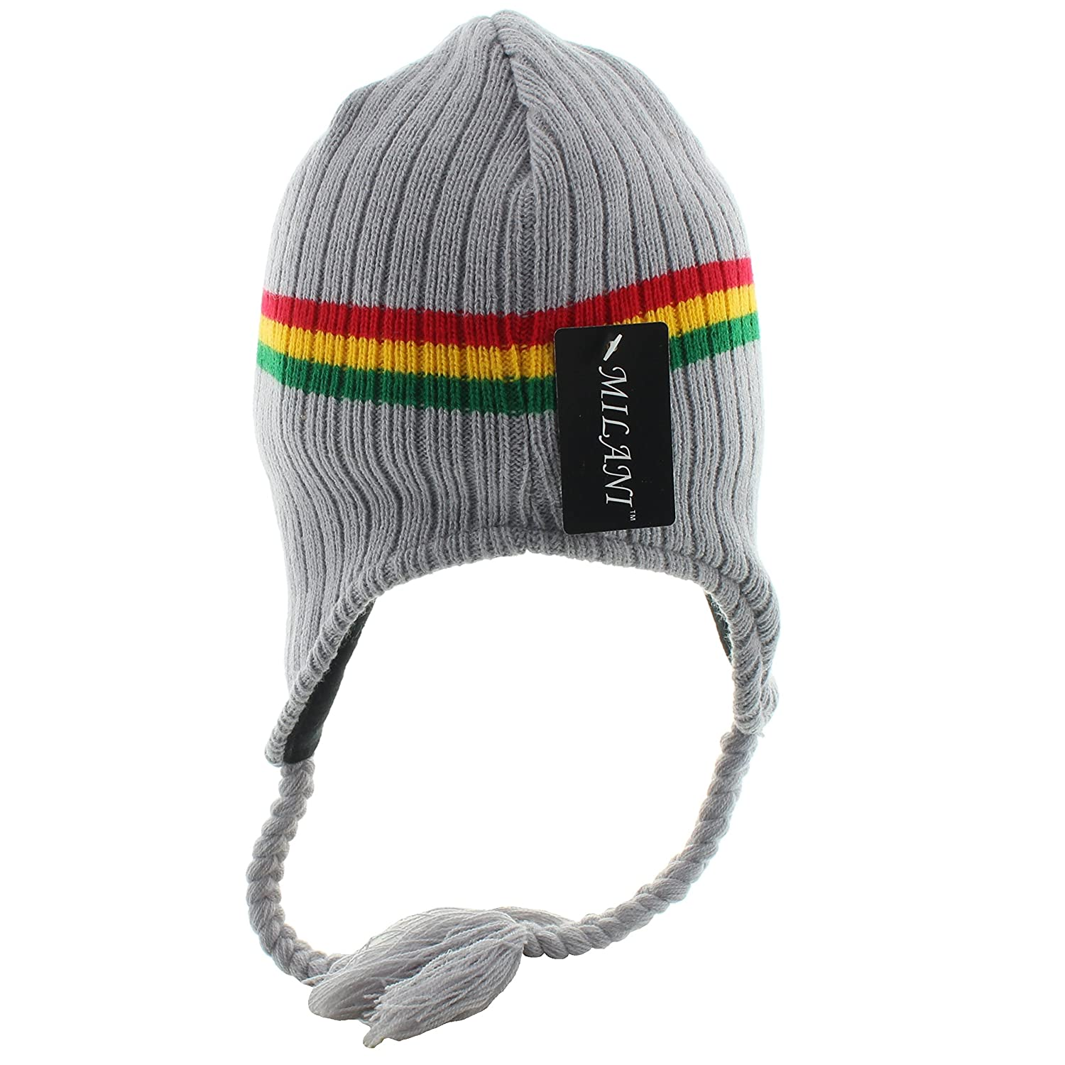 14a45899852 Amazon.com  JFH Group Rasta Hippie Jamaican Winter Ear Flap Hat (One Size)- Gray  Clothing