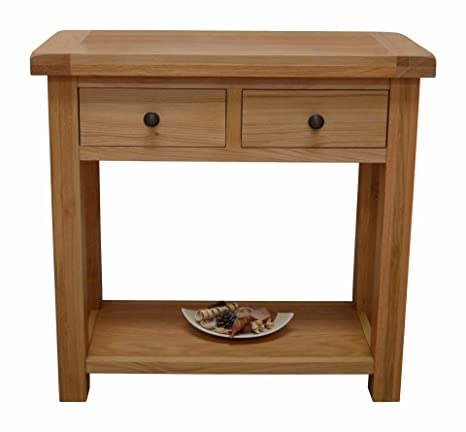 new concept df866 dd969 Canton Oak Hall Table - 2 Drawer Console Table in Solid Hardwood -  Telephone Table with Dovetail Joint Drawers - Living Room Furniture -  Dining Room ...