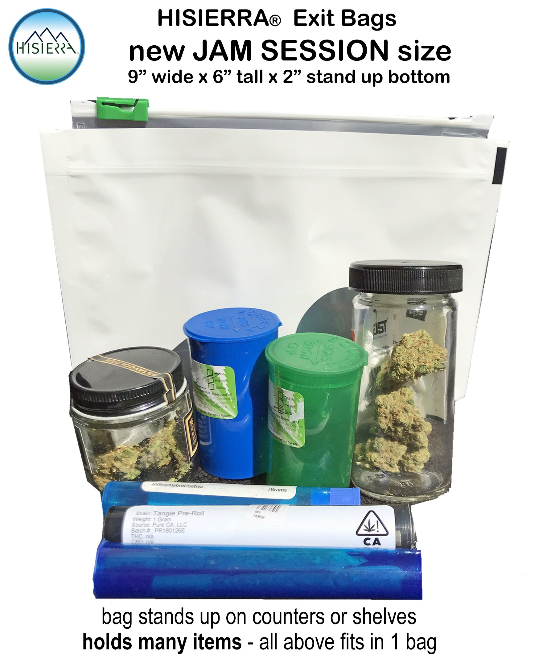 HISIERRA child resistant exit bags JAM SESSION 9 x 6 x 2 size by HISIERRA Cannabis Packaging (Image #3)