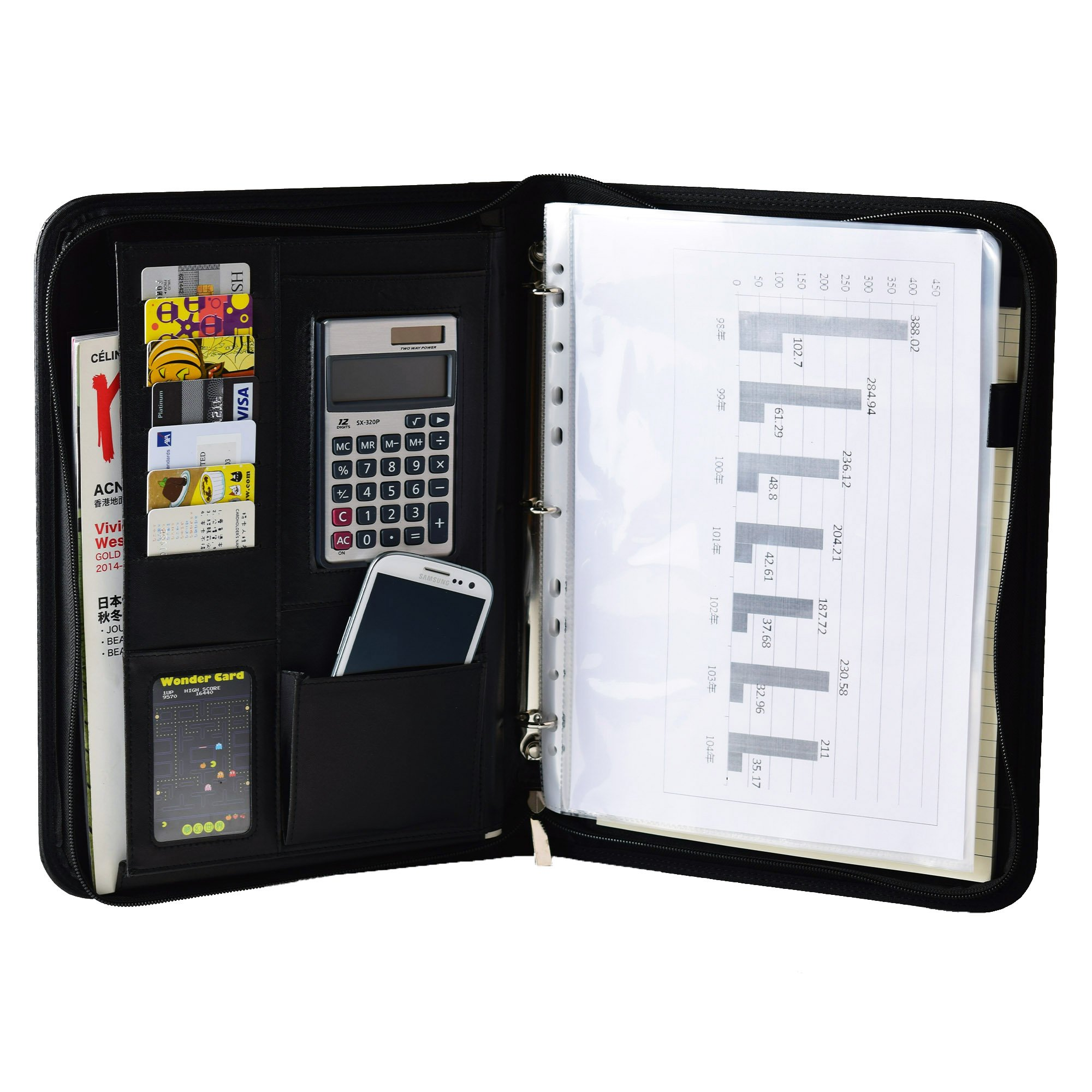 Black Zippered PU Leather 3 Ring Binder iPad Padfolio Organizer Documents Card Holder with 12-bit Portable Solar Calculator A4 Notepad