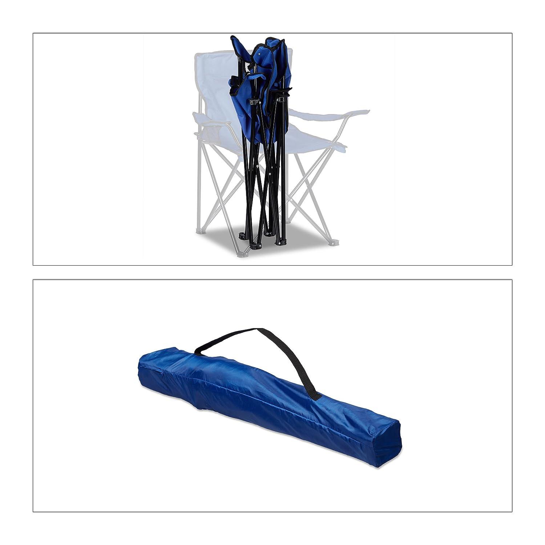 Armlehnen verschiedene Farben Getr/änkehalter HBT: 81 x 78 x 50 cm Tragetasche Relaxdays Campingstuhl klappbar