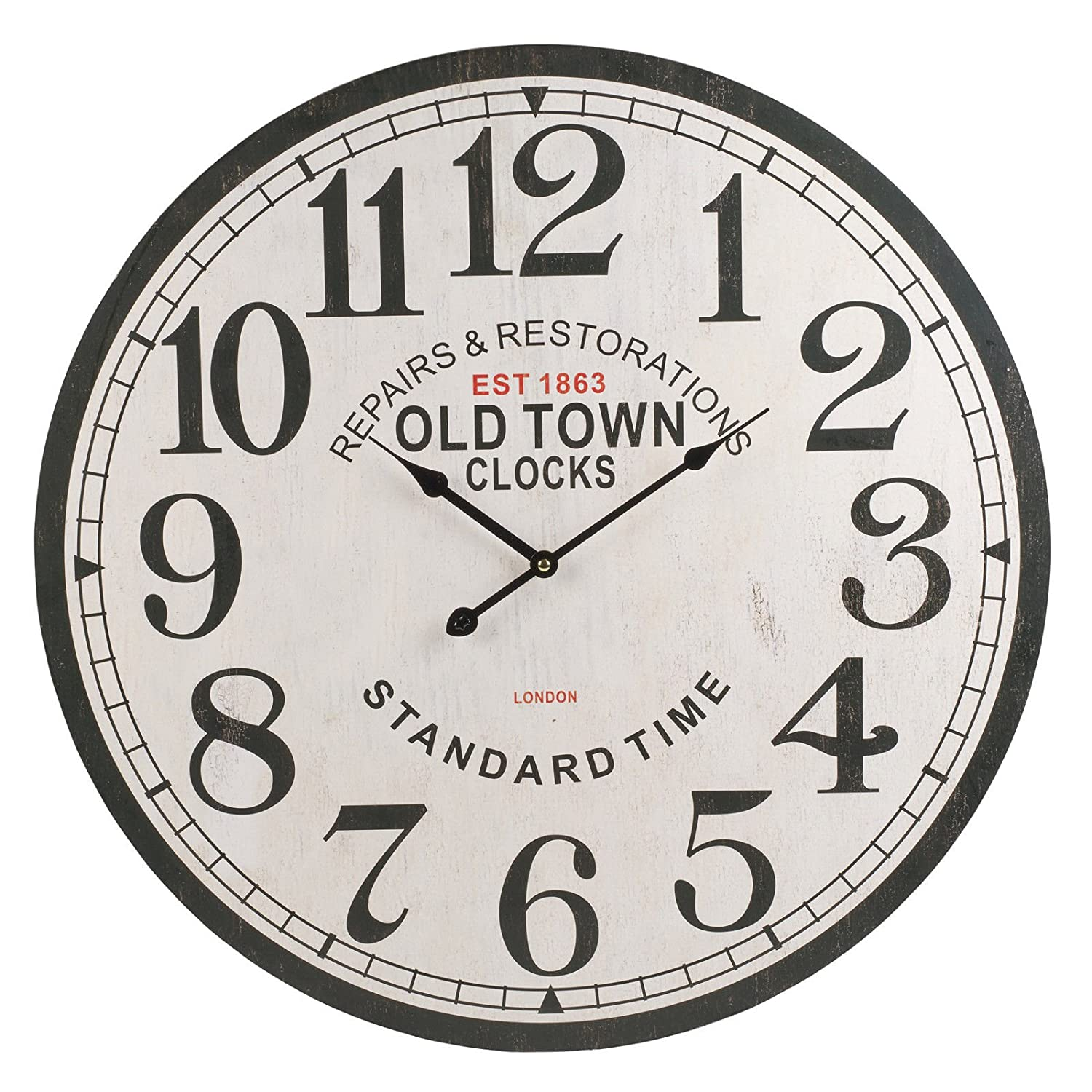 60cm Extra Large Round Wooden Wall Clock Vintage Retro Style (London - Standard Time)