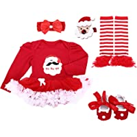 Baby Girls' 4PCs 1st Birthday Tutu Dress Onesie Headband Outfit Shoes Leggings