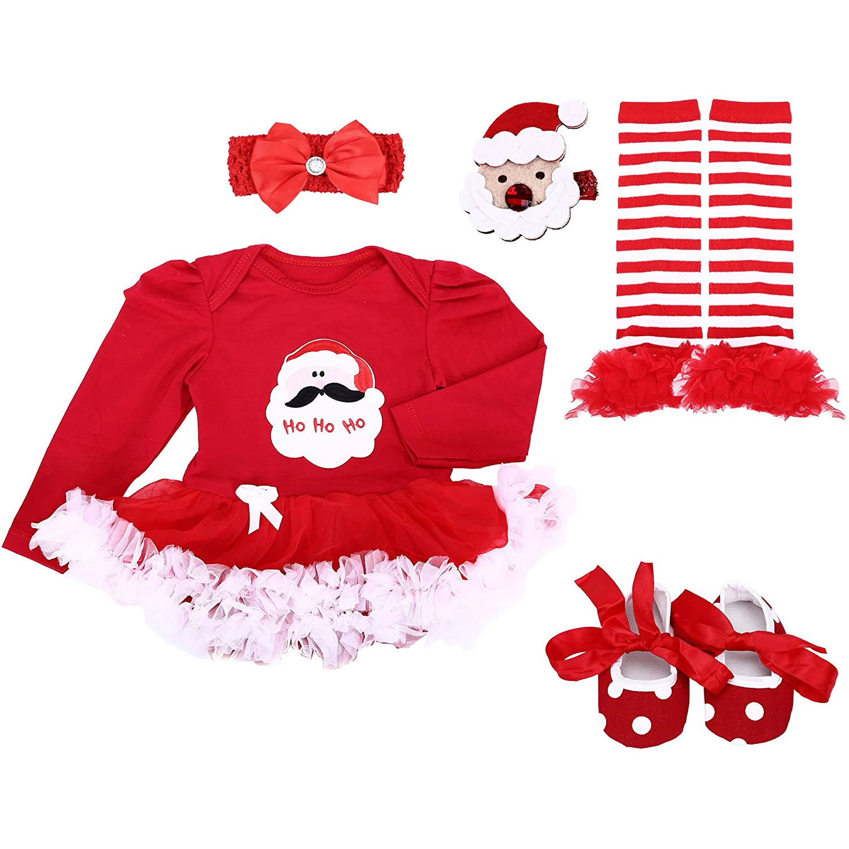 Baby Girls' 4PCs 1st Birthday Tutu Dress Onesie Headband Outfit Shoes Leggings