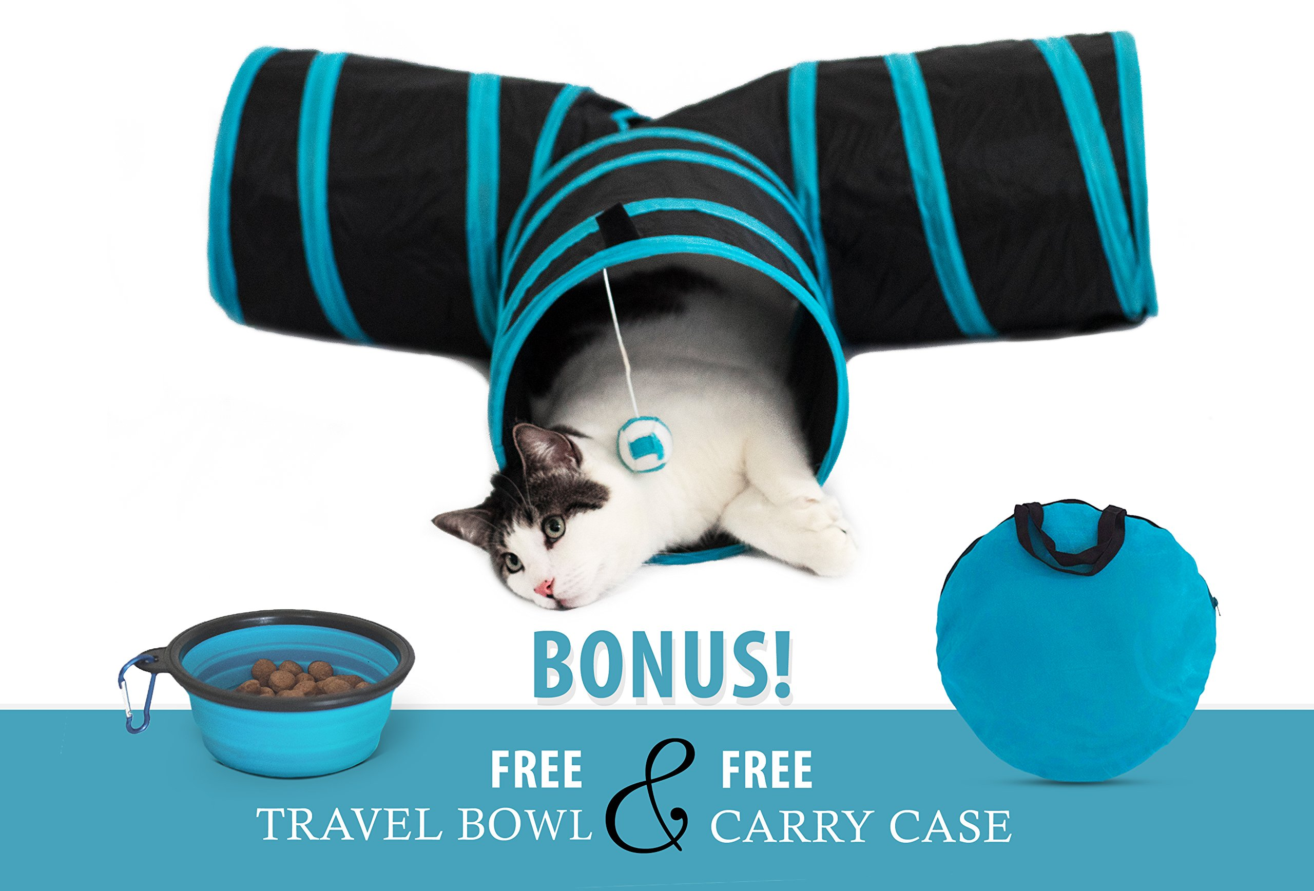 Unleashed Pets 3 Way T-Shaped Collapsible Pet Cat Tunnel Play Tube | With Carrying Case and Bonus Food Bowl | With Peek Hole, Hanging Ball Toy | For Cats, Puppies, Rabbits | Indoor and Outdoor Use