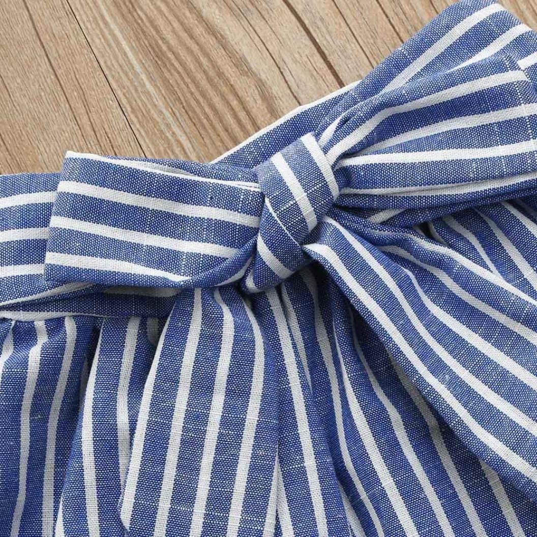 2Pcs Toddler Baby Girls Ruffle Off Shoulder Striped Tops+Bow Skirt Sets 5-6 T Blue