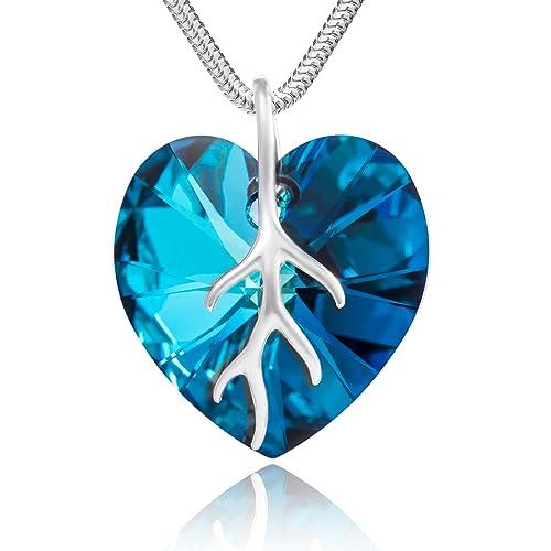 7fbf2ace085d Plata con colgante de con cristales de Swarovski Original colgante de  corazón con texto, azul oscuro 18 mm, en caja regalo diseño de muñeco con  ...
