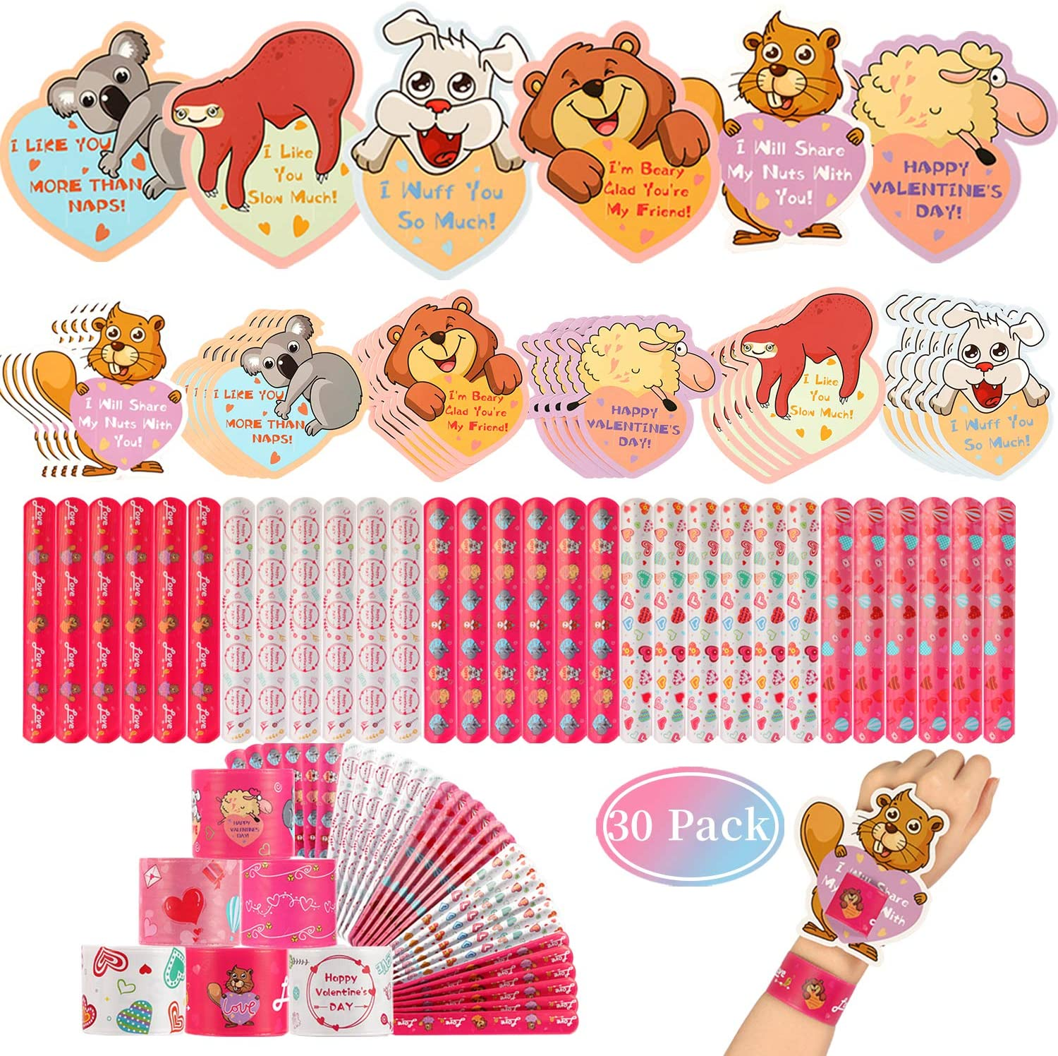 Mibor Valentines Day Cards for Kids - 30 Slap Bracelets + 30 Valentines Cards for Kids Class, 6 Cute Animals Patterns Cards, Kids Valentines Day Cards for School Classroom Valentines Day Decorations