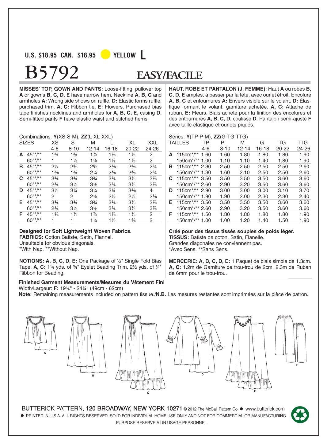 Butterick B5792 - Patrón de costura para confeccionar camisón y ...