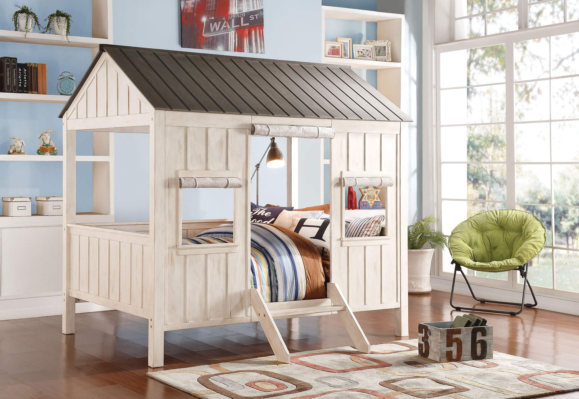 ACME Spring Cottage Weathered White and Washed Gray Full Bed by Acme Furniture