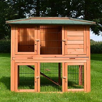 3b571b4359e02e Zooprimus ❤ Cage Clapier Enclos lapin ❤ Extérieur en Bois de Haute Qualité  pour lapins 123