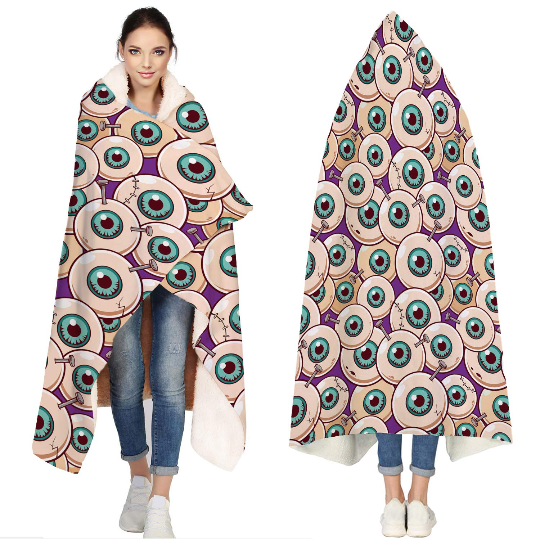 SUN-Shine Happy Halloween Sherpa Hooded Blanket, Wrap Soft Flannel Fleece Wearable Throw Hoodie Blankets for Kids Adults Girls Boys, Cute Zombie Eyeball by SUN-Shine