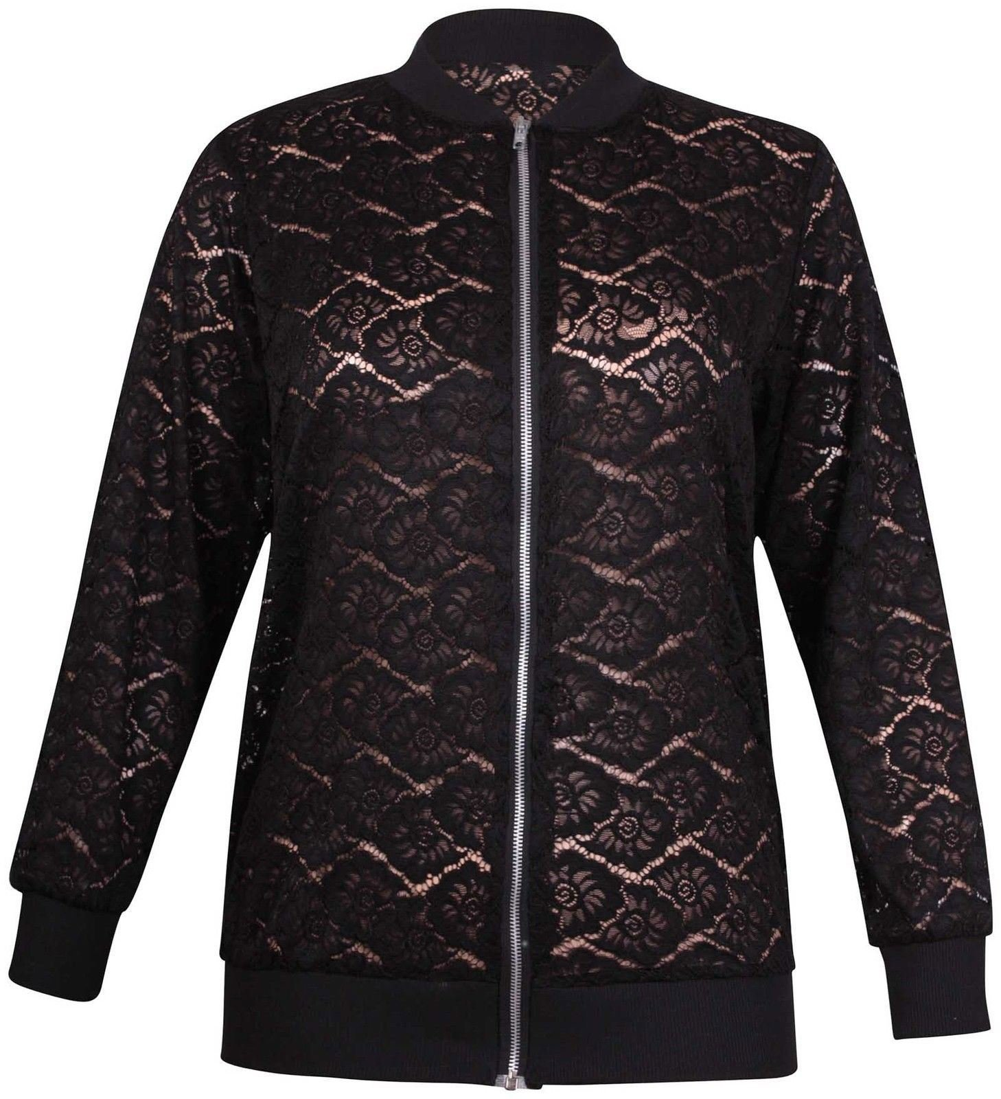 Womens Floral Lace Zip Up Bomber Jacket Ladies Long Sleeve Stretch Collar Top#(Black Floral Lace Zipper Bomber Jacket#US 22-24#Womens)