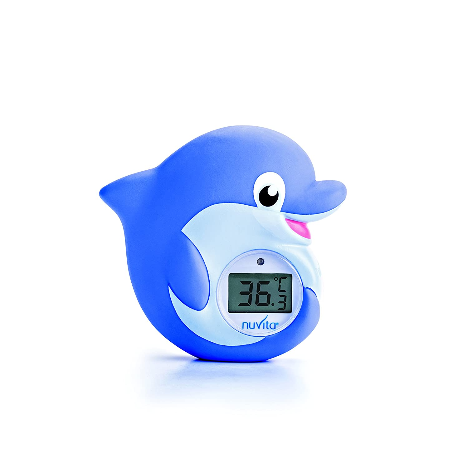 Bath and Room Thermometer 2 in 1 Nuvita 1006 – Digital Bath Thermometer – Baby Thermometer with Alarm LED Too Hot / Too Cold – Bath Toy in Dolphin Shape Certified and Safe (EN71 compliant)- EU Brand - Italian Design