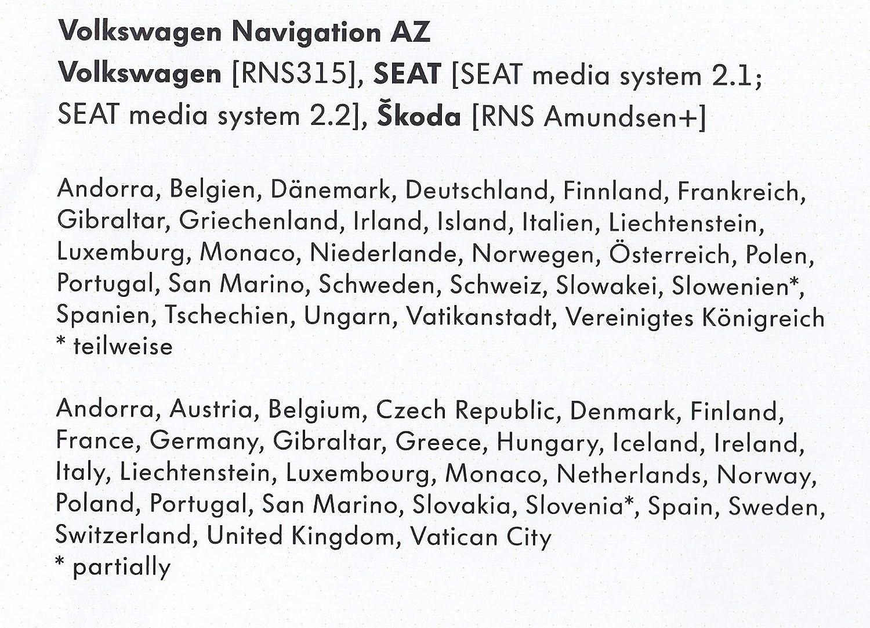Vw Skoda Seat Rns 315 Amundsen V9 Sd Karte West Europe Karte Aktualisierung17 18 Navigation