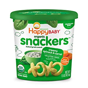 HAPPYFAMILY Baby Organic Snackers Baked Grain Snack for Crawling Babies, Creamy Spinach and Carrot, 1.5 Ounce (Pack of 6)