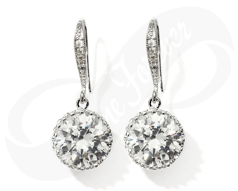 Amazon Com Cubic Zirconia Earrings Bridesmaid Earrings Bridal
