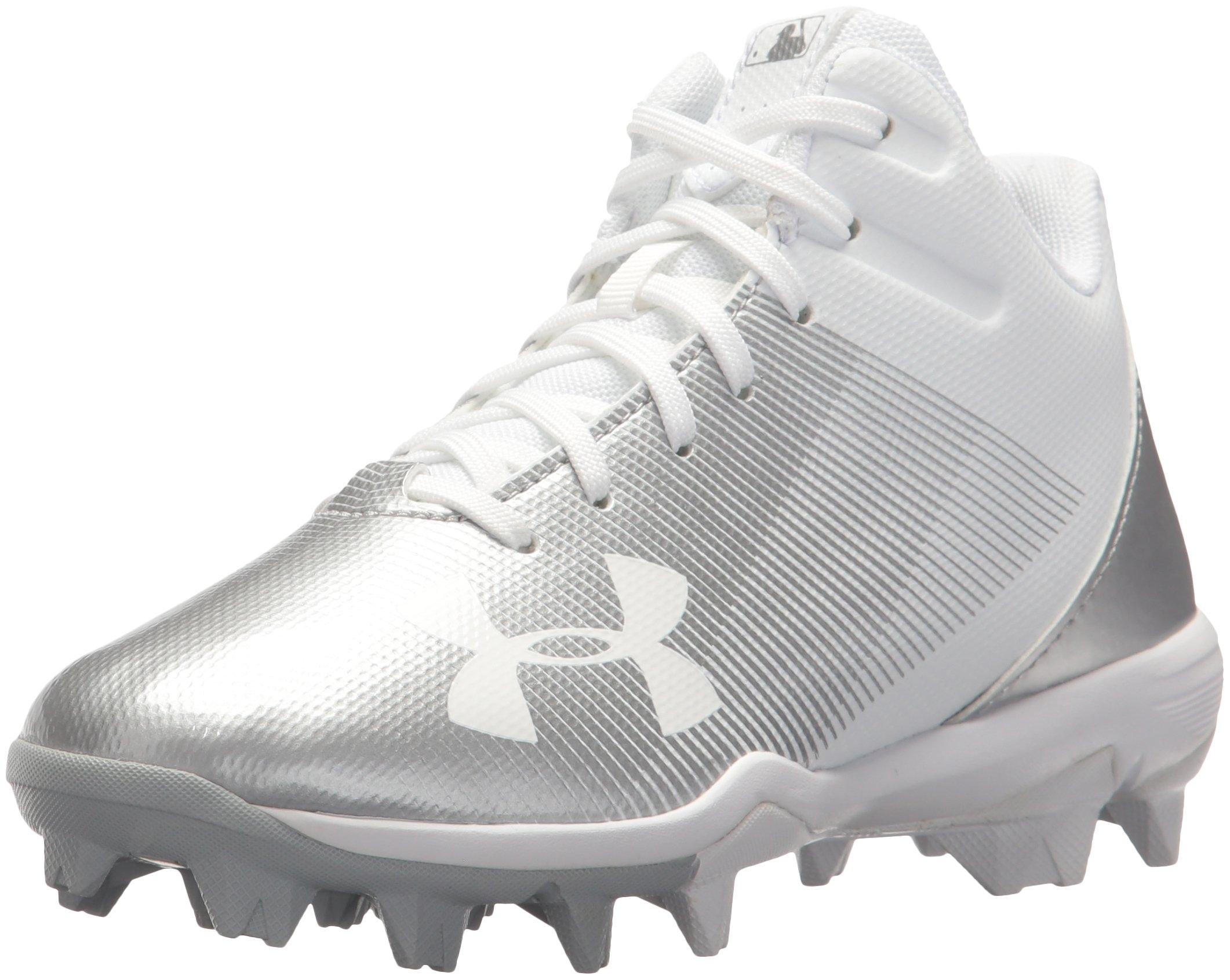 Under Armour Boys' Leadoff Mid Jr. RM Baseball Shoe, White (100)/White, 6