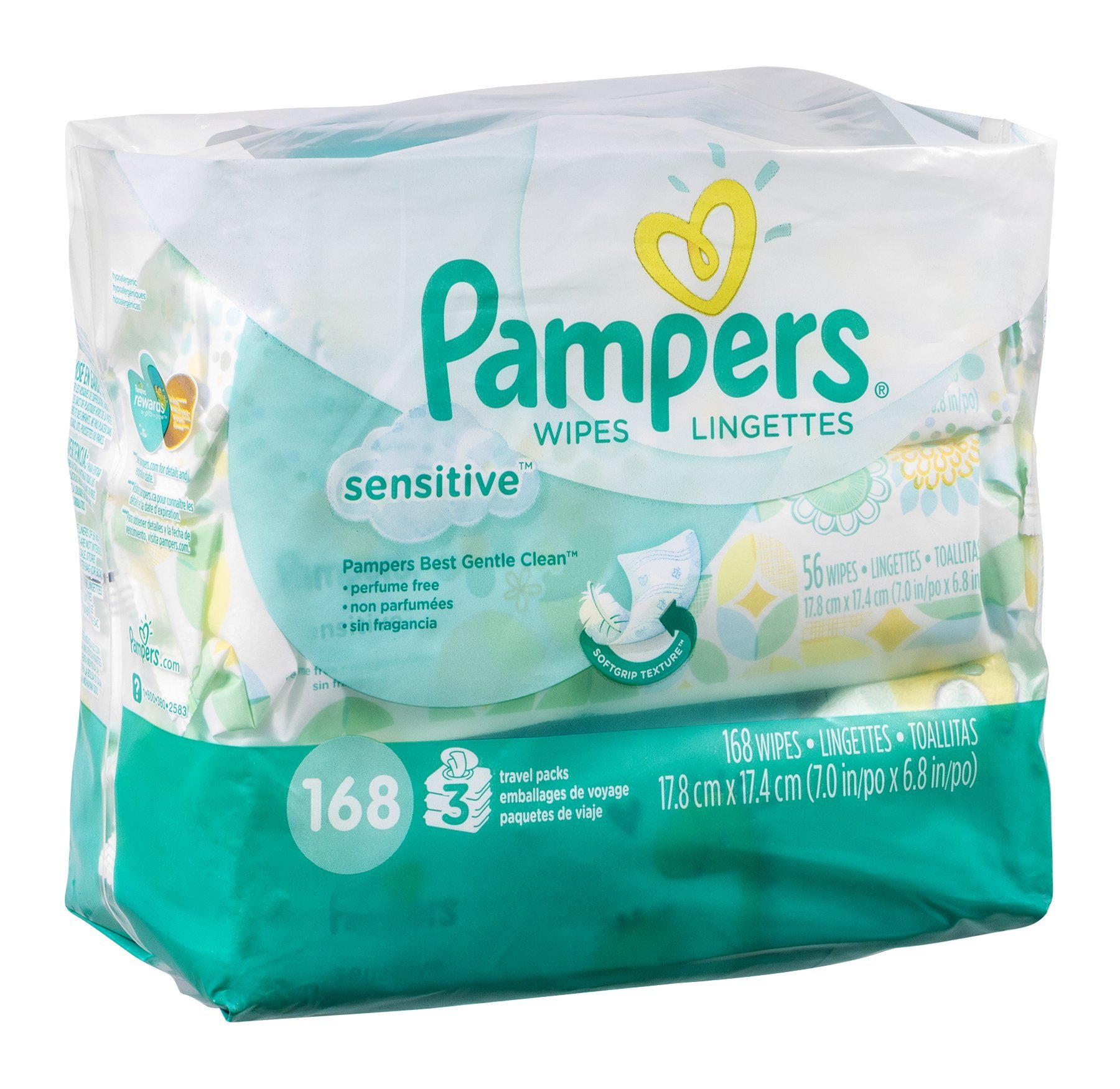 Pampers Sensitive Wipes Travel Packs 168 CT (Pack of 12)
