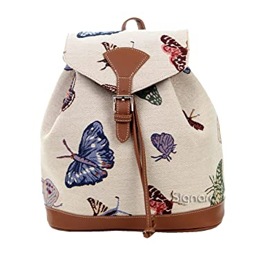 Signare Womens Tapestry Small Flap Buckle Rucksack Backpack in Butterfly Design