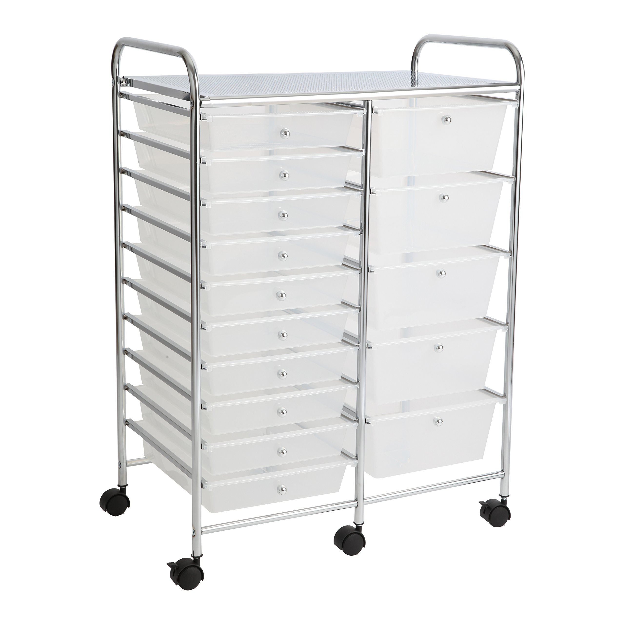 Finnhomy 15 Drawer Rolling Cart Organizer Storage Cart with Drawers Utility Cart for School Office Home Beauty Salon Storage Semi-Transparent White