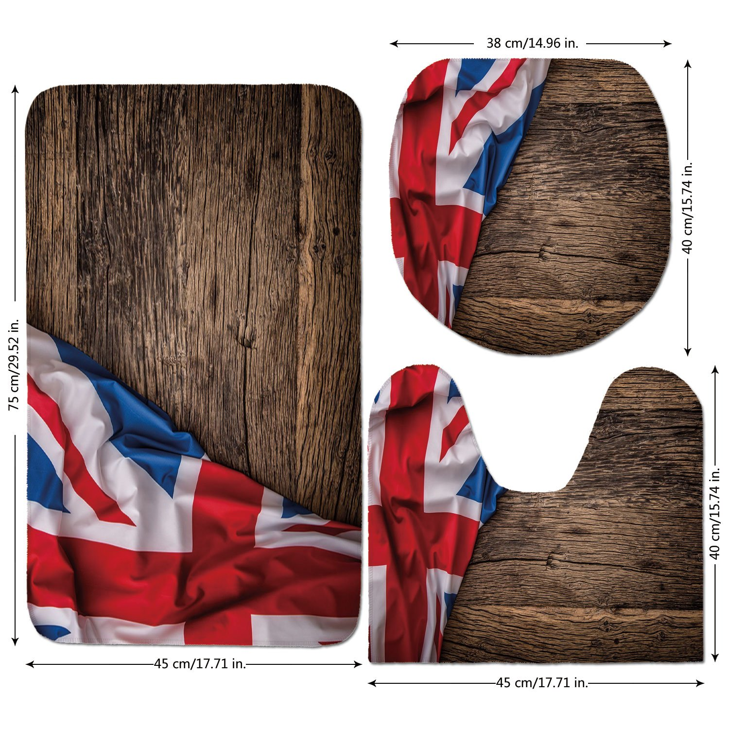 3 Piece Bathroom Mat Set,Union Jack,Flag of United Kingdom on Old Oak Wooden Board English Nation Country Britain,Multicolor,Bath Mat,Bathroom Carpet Rug,Non-Slip