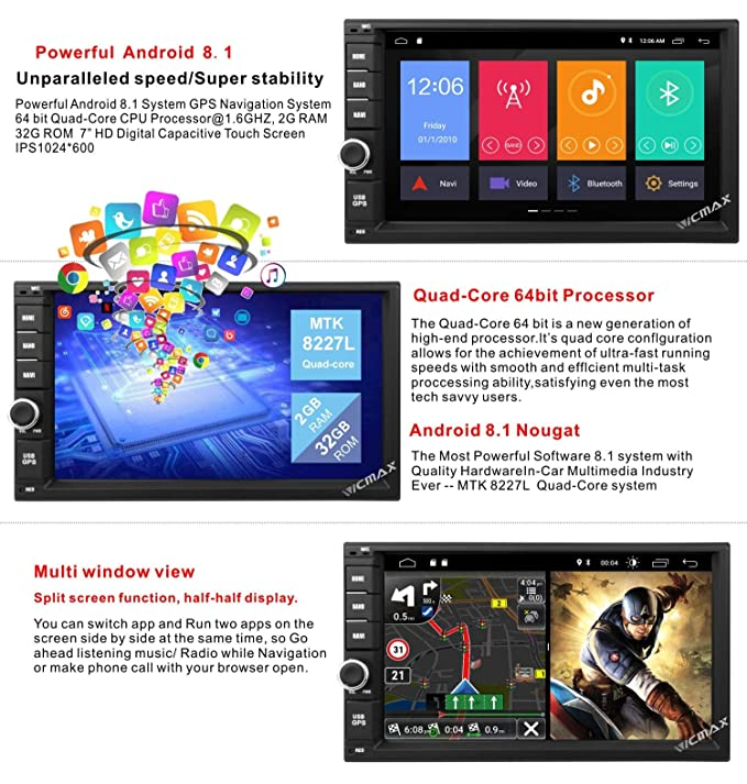 Android 8 1 Double Din Car Stereo,Car Radio Audio,Vicmax 7Inch Touch Screen  Android Auto,Quad-Core, 2GB RAM 32 ROM,GPS Navigation Support