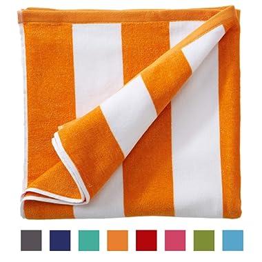 Great Bay Home Oversized Plush Velour 100% Cotton Beach Towel. Cabana Stripe Pool Towel for Adults. (Orange, 40  x 70 )