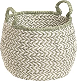 "product image for Colonial Mills Preve Basket, 12""x12""x12"", White & Green"