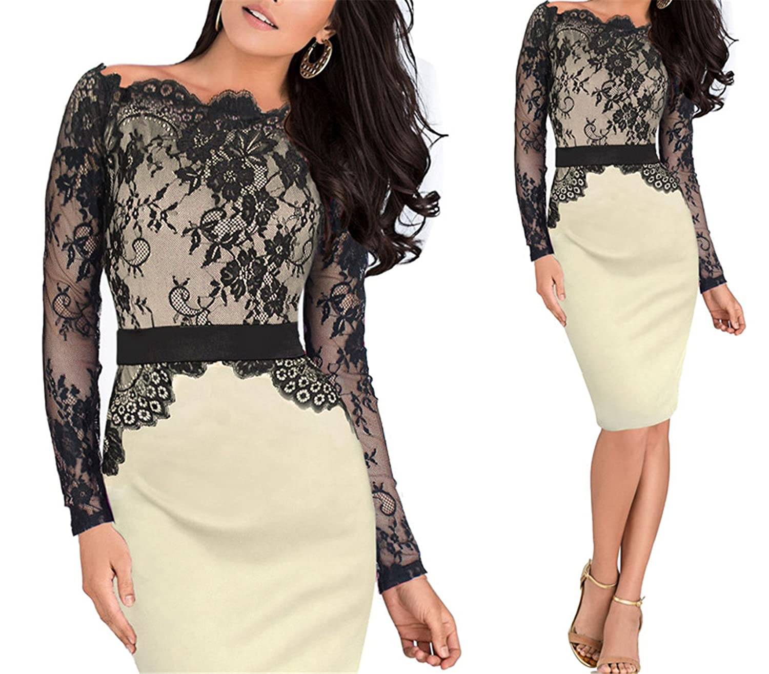 Beige Elegant Pinup Vintage Retro Lace Off Shoulder Patchwork Belted Stretch colorblock Bodycon Party Fitted Dress 719