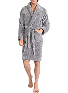 NY Threads Luxurious Men/'s Hooded Bathrobe Fleece Shawl Collar Robe Lot