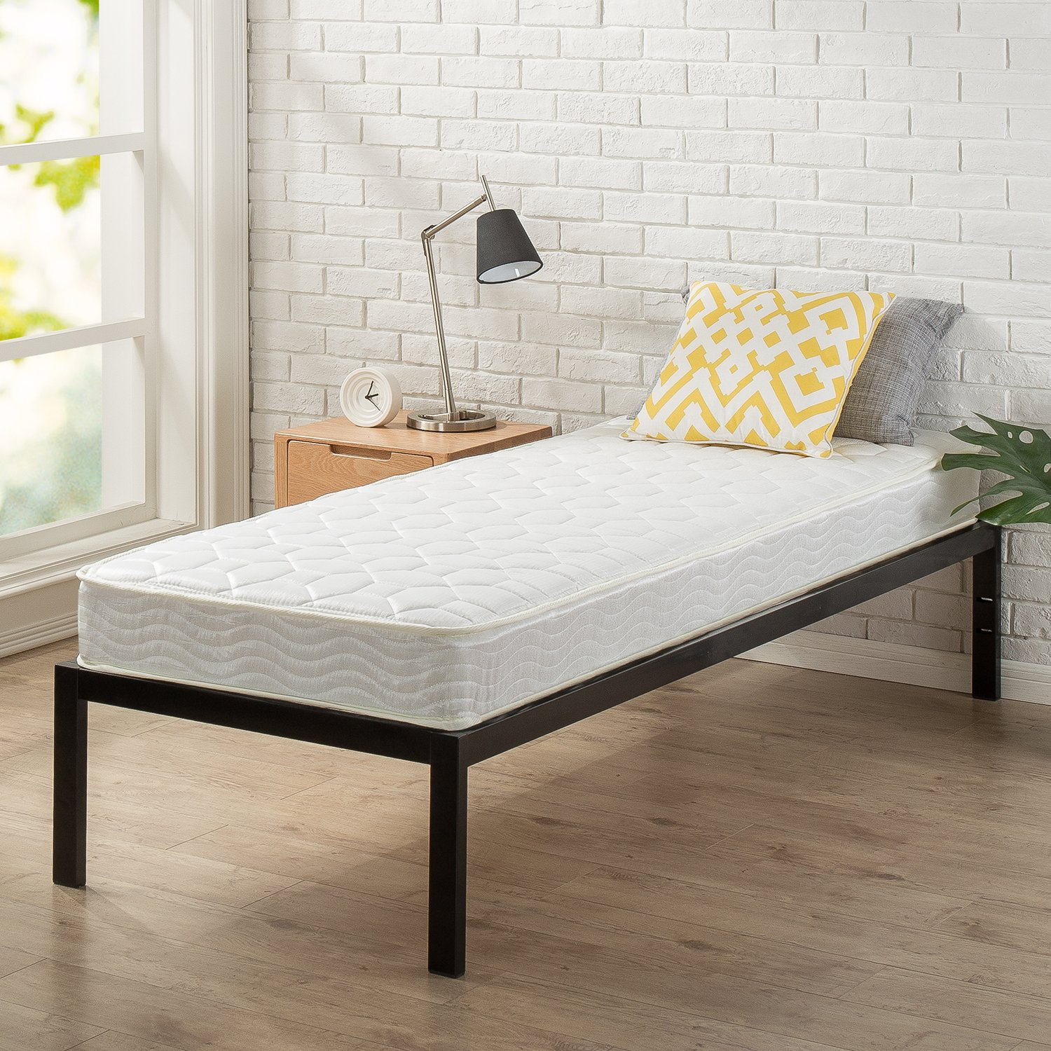 "Zinus Modern Studio 14 Inch Platform 1500 Metal Bed Frame, Cot size, 30"" x 75"", Mattress Foundation, no Boxspring needed, Wood Slat Support, Good Design Award Winner, Narrow Twin"