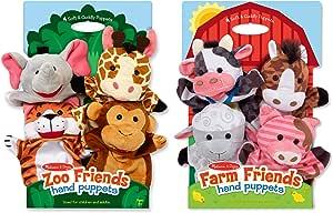 Melissa & Doug Hand Puppet Bundle - Farm & Zoo Friends
