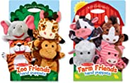 Melissa & Doug Animal Hand Puppets Set, The Original Zoo Friends and Farm Friends (8 Puppets, Great Gift for Girls and Boys -