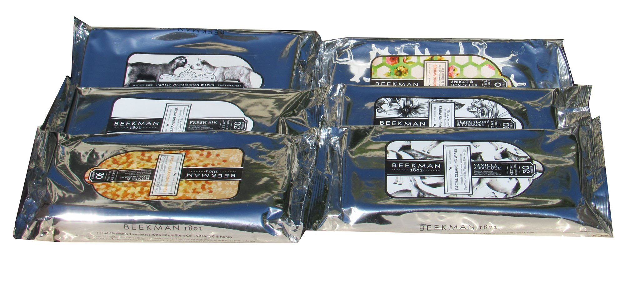 Beekman 1802 Assorted Facial Cleansing Wipes 30 wipes Each Scent