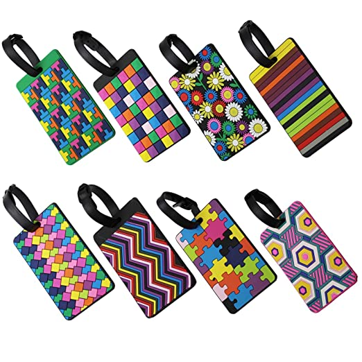 cc2fd2dcff95 DECORY Luggage Tags Personalized Labels Luggage Tag Suitcase Label (8 Packs)