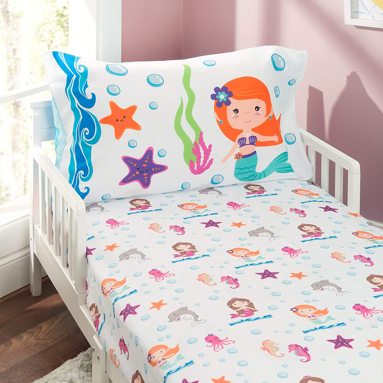Undersea Mermaids Adventure Fitted Sheet and Reversible Pillowcase EVERYDAY KIDS 4 Piece Toddler Bedding Set Includes Comforter Flat Sheet