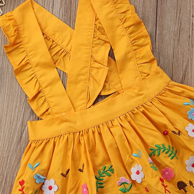 Andannby Toddler Kids Baby Girl Suspender Skirt Ruffle Strap Overall Dress Casual Summer Outfit Clothes