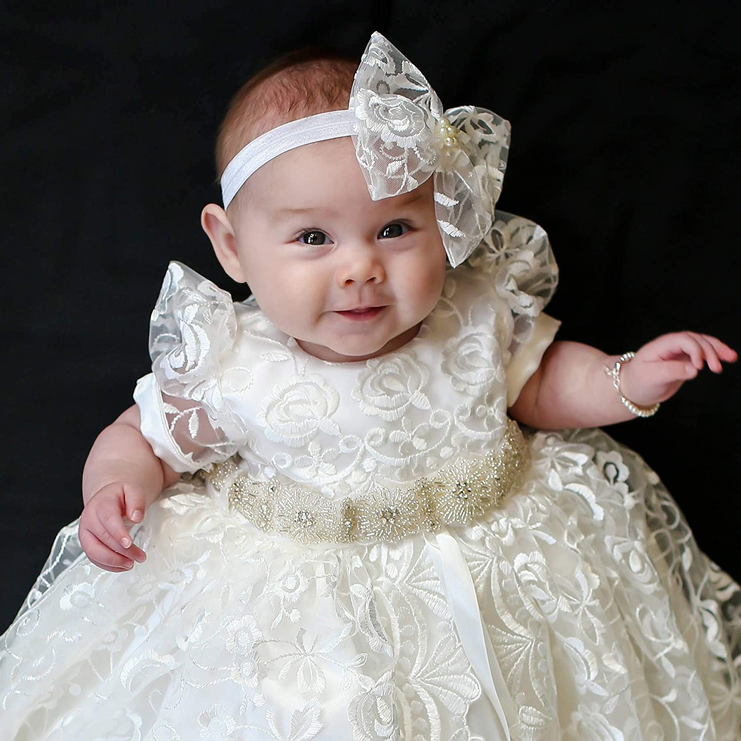 BuyBro Baby Girls Lovely Lace Christening Gowns Dresses Long