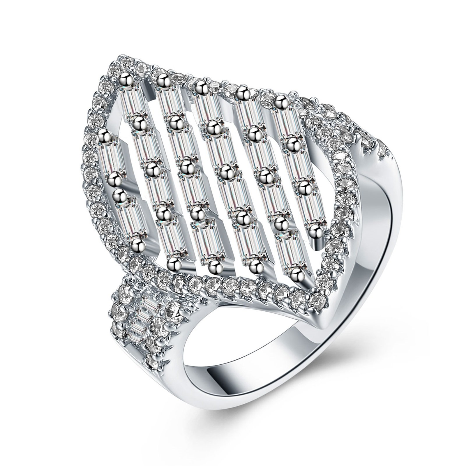 Beydodo Silver Plated Anniversary Ring for Women Size 7 Leaf Ring Emerald & Round Cut Cubic Zirconia