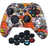 YoRHa Transer Printing Silicone Thickened Cover Skin Case for Xbox Series X/S Controller x 1(Skull Graffiti) with Thumb Grips